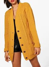 Cable Knit Chucky Cardigan in Mustard (RRP £29.99) In the Style of Top Shop