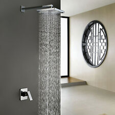 "18"" Inches Chrome Wall Mount Rain Waterfall Single Handle Shower Faucet Head US"