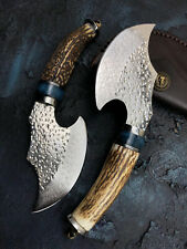 AXE HATCHET POLISH DAMASCUS STEEL BLADE HUNTING KNIFE HORN CAMPING WITH SHEATH