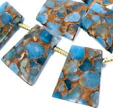 28mm Aquamarine Quartz with Pyrite /Gold Vein Ladder Trapezoid Pendant Beads (5)