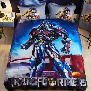 100% Cotton Transformers Optimus Prime Protects Us Single Bed Quilt Cover Set
