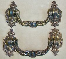 New listing Pair Antique 19th c Cast Bronze Cabinet Piano Door Drawer Pull Push Handles