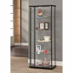 Coaster 5 Shelf Glass Curio Cabinet in Black