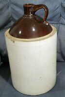 "Antique STONEWARE POTTERY GLAZED BROWN WHITE CROCK Jug Pitcher 18"" Tall 4 Gallon"