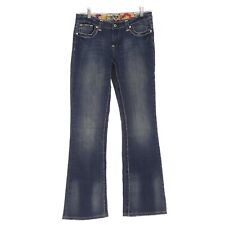 Rock Star Jeans 8 Long Blue Boot Cut Mid Rise Medium Wash Cotton Stretch B74