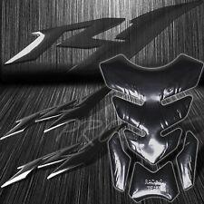"Black Tribal Fire Fuel/Gas Tank Pad+x2 6"" for YZF-R1 Logo Fairing Emblem Sticker"