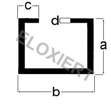 (3€/m) Alu C-Profil 8x23x6,5x1,5mm ELOXIERT 2m Aluminium