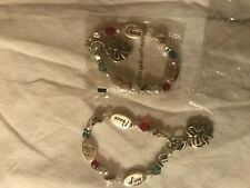 Bracelets Youth Set of 2 Silver with Peace Love and Joy Charms New