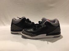 Nike Air Jordan 3 III 2011 Retro Black Leather Gray and black boy size 3 y