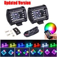 "2x 4"" inch LED Work Light Pods Bluetooth RGB Halo Chasing Music Flash & Wiring"