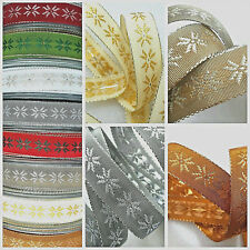 1m 15mm BERISFORDS CHRISTMAS RIBBON SCANDI SNOWFLAKES & METALLIC GIFT BOWS CRAFT