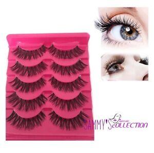 5 PAIRS False Lashes Demi Wispies Fake Eyelashes Natural Long Makeup Eyelash UK