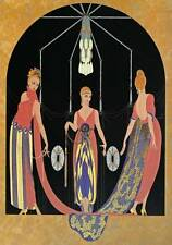 "Authentic VINTAGE Erte Art Deco Print ""Tre grazie offrono"" fashion BOOK Piastra"