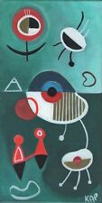 Mid-Century Modern Painting 1950's Eames Era RETRO Acrylic/Canvas OUTSIDER ART