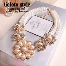 Exquisite Korean Fashion Pearl Flower Wedding Bride Crystal Bib Necklace P64