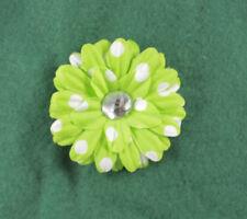 Lime Green White Polka Dots Flower  Hair Clip Headband Accessory Girls