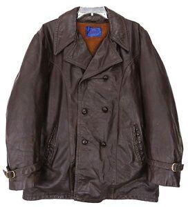 USA Vtg SKALAR® Sherpa Fur FIGHT CLUB Pea Coat LEATHER JACKET Brown M Mens MED