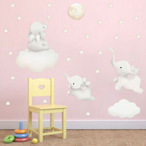 REMOVABLE ELEPHANT STARS PLANET WALL STICKER NURSERY/KIDS/GIRLS/BOYS ROOM ANIMAL
