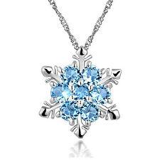 Kristall Schneeflocke Frozen Blumen Silber Halskette Anhänger Collier Kette Mode
