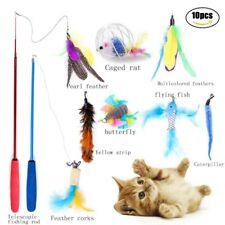 10 Pcs/Set Pet Cat Teaser Stick Interactive Wand Funny Feather Teasing Toy