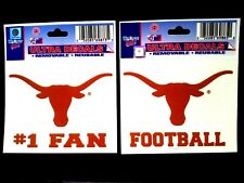 New! Texas Longhorns - Lot Of Two - Ultra Decals - #1 Fan and Football, Ut, Ncaa