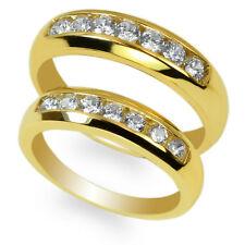 Cz Channel Band Ring Size 4-12 Couple Duo Set 10K Yellow Gold Round