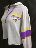 New Minnesota Vikings Purple Gray Zip-Up Hoodie Hooded Sweatshirt Womens L XL