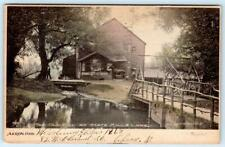 1907 AKRON OHIO OLD MILL AT STATE MILLS LAKE*COCA COLA SIGN*WOODEN BRIDGE*HORSE