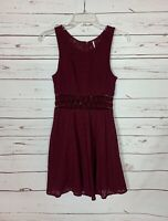Free People Women's Wine Burgundy Lace Sleeveless Cute Spring Summer Party Dress