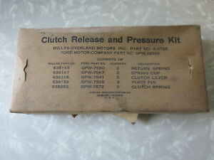 Willy's Overland A-6752 Ford GPW 18359 Clutch Release & Pressure Kit NOS Surplus