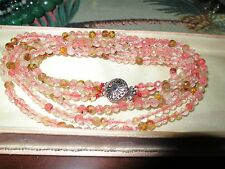 Lovely knotted 4mm watermelon tourmaline 3 strand necklace