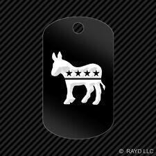 Democrat Logo Keychain GI dog tag engraved many colors