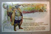 Postcard Thanksgiving Day 1907 Embossed Hunter Long Since Dead Pilgrim Poem 1381