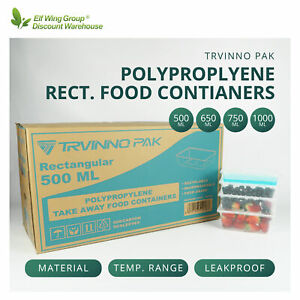 TAKE AWAY Containers+Lids PLASTIC FOOD CONTAINER 500,650,750,1000ml Bulk Quality