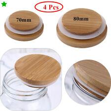 4x 70mm/86mm Sellado Tapas de bambú con tapas de cubierta para tarro de conserva Mason Drinking Bottle