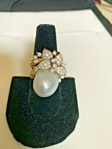 Large South Sea Pearl With Diamonds Set in 18k Yellow Gold Cocktail Ring