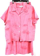 One World 100% Linen Straight SKirt & Jacket  XL Pink Letters From Paris Print