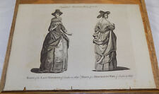1775 Antique Print/FEMALE FASHION IN 1640/LADY MAYORESS& MERCHANT'S WIFE/England