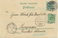 """DT.REICH """"GLEIWITZ / 1"""" (GLIWICE, jetzt Polen) K2  """"PILCHOWITZ"""" K1 5 Pf GA 1896"""