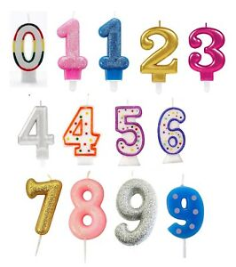 NUMBER CANDLES - Birthday Party Cake All Ages Boy Girl Multi Coloured Numeral