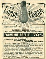 Publicité ancienne la lampe Osram 1908 issue de magazine