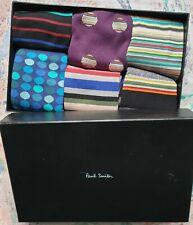 Paul Smith Mens Box of 6 Italian Socks Mixed Designs Signature Dots Cotton 1Size