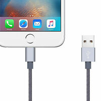 2m Metal Knit Braid Lightning Charger Cable for Apple iPhone 7 6s 6 7+ Plus Grey