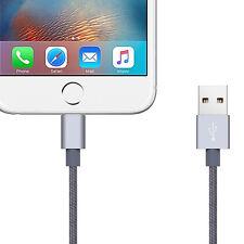 2m Cable Cargador De Punto Trenza Lightning de Metal para Apple iPhone 7 6s 6 7+ Plus Gris