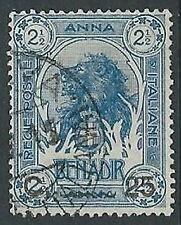 1906-07 SOMALIA USATO LEONE SOPRASTAMPATO 25 CENT SU 2 1/2 A - U19-9