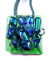 "Dichroic Fused Glass 1"" PENDANT PIN COMBO Emerald Green Teal Shards Art Mosaic"