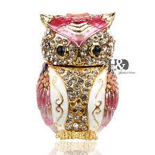 Owl Jewelry Trinket Box Hinged Metal Enameled Animal Figurine Collect Organizer