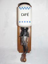 02E15 ANCIEN MOULIN A CAFÉ MURAL DE MARQUE JAPY DÉCORS DAMIERS BLEU LUSTUCRU