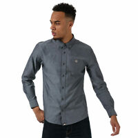 Mens Pretty Green Classic Fit Oxford Shirt In Washed Black