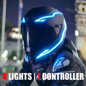 4xMotorcycle Helmet Night Riding Signal Light Flashing Stripe Bar LED Strip Blue